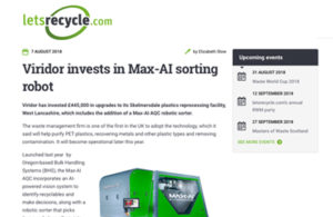Viridor Invests in Max-AI Robotic Sorting